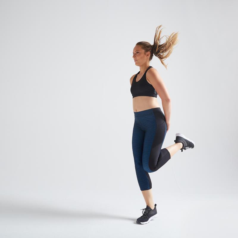 กางเกงเลกกิ้งขา 7/8 ส่วนเพื่อคาร์ดิโอสำหรับผู้หญิงรุ่น 120 สีน้ำเงินพิมพ์ลาย