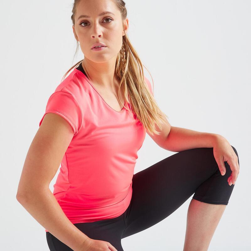 T-shirt voor fitness slim fit roze