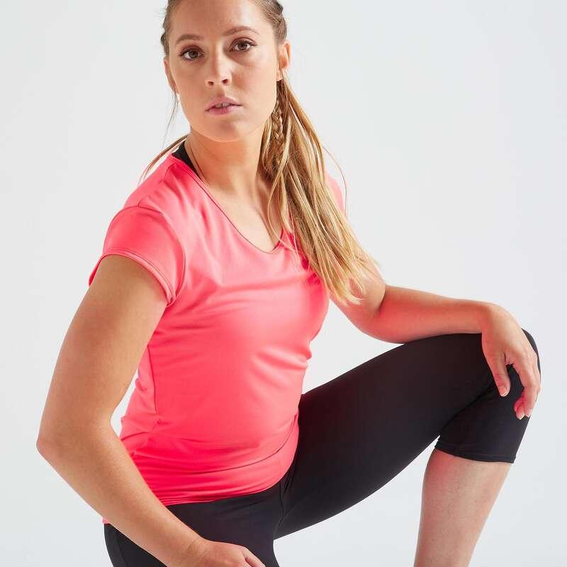BAŞLANGIÇ SEVİYESİ KADIN KIYAFETLERİ Fitness - 100 FİTNESS TİŞÖRTÜ DOMYOS - Kadın Fitness Kıyafetleri