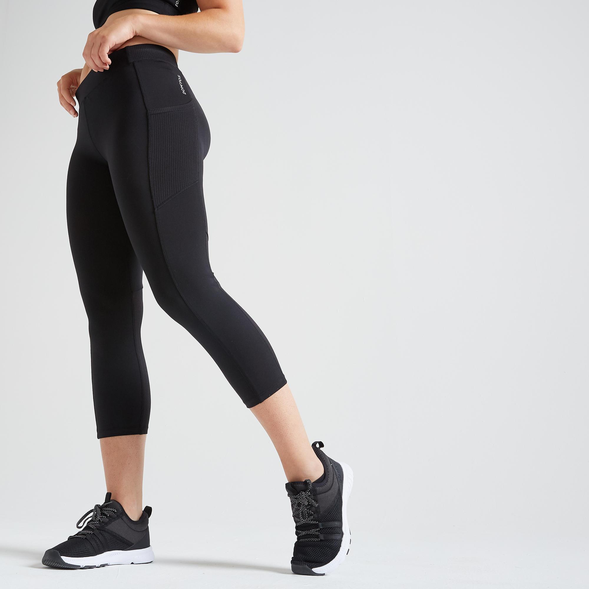 120 Women S Fitness Cardio Training 7 8 Leggings Black Domyos By Decathlon