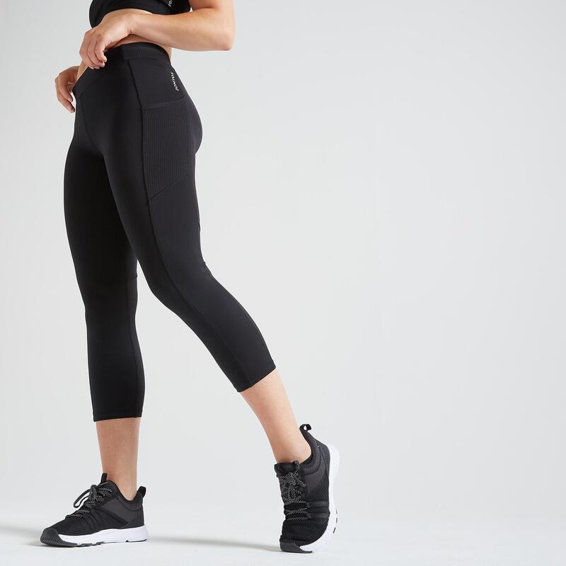 Legging court Fitness avec poche téléphone noir
