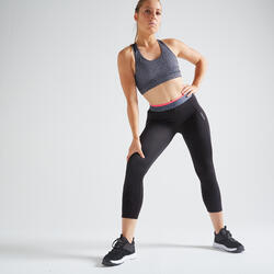 7/8-legging voor cardiofitness dames 100 zwart