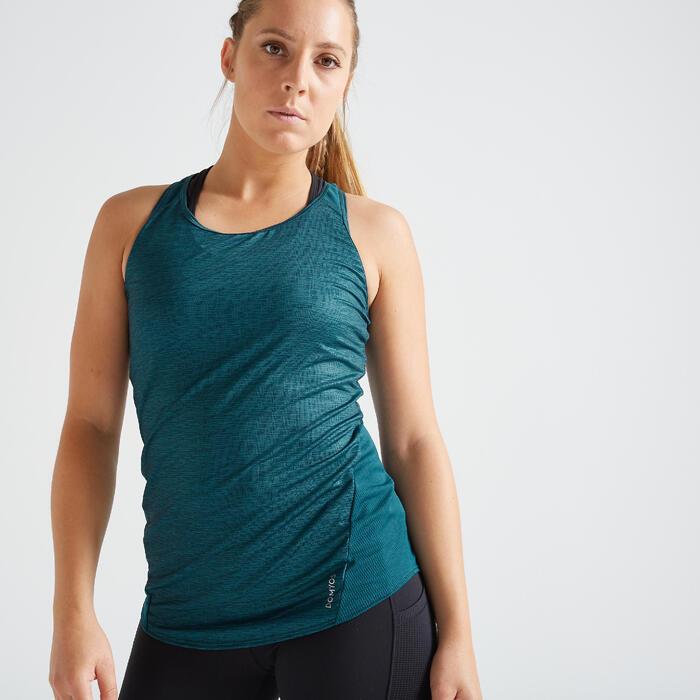 Débardeur fitness cardio training femme chiné vert 120