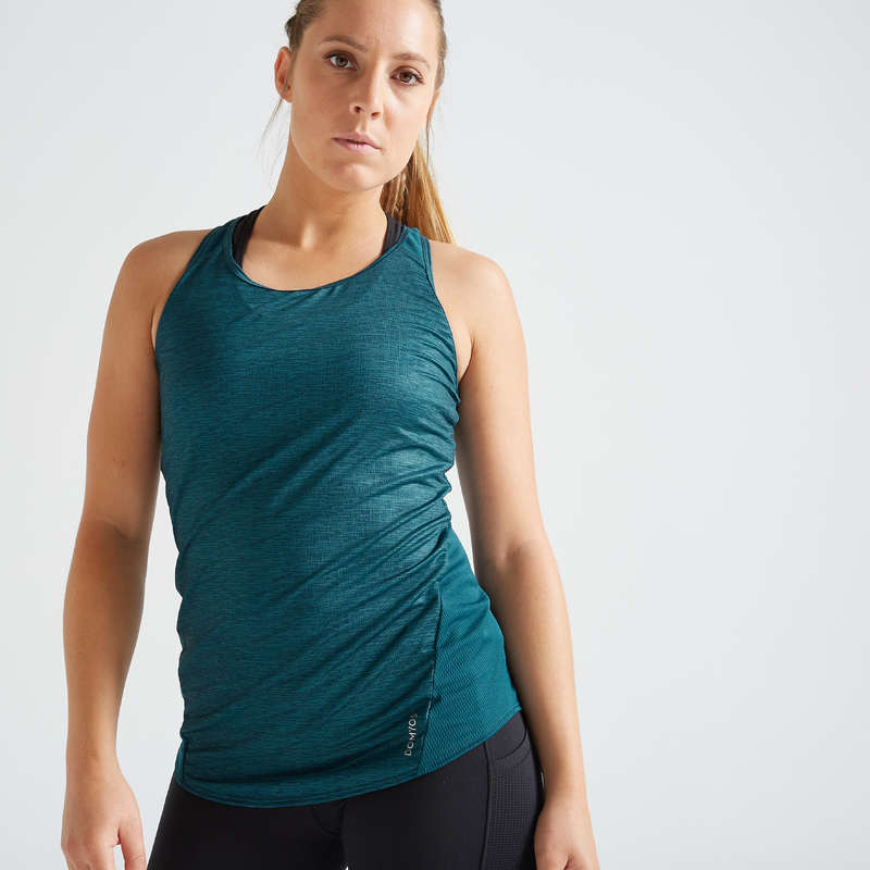 WOMAN FITNESS ENERGY APPAREL Fitness and Gym - FTA 120 Tank Top - Green DOMYOS - Fitness and Gym