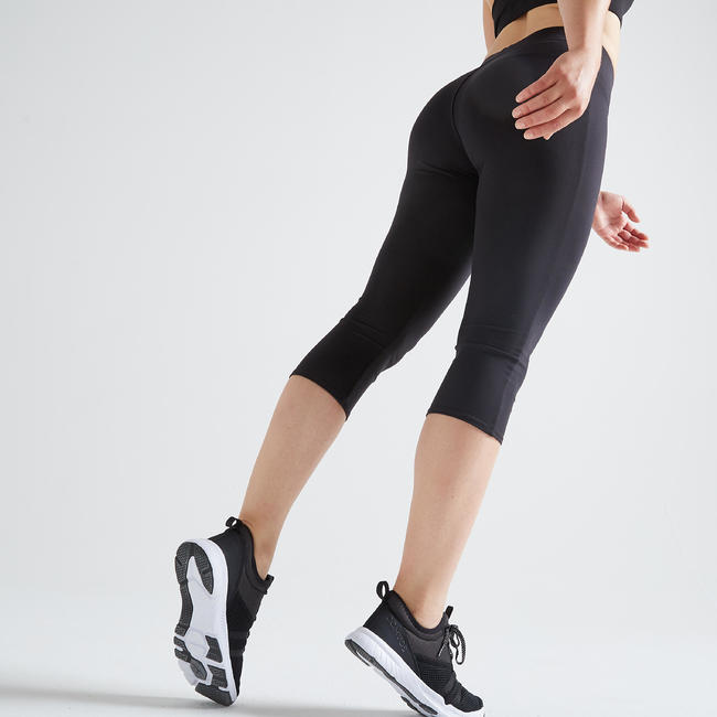 100 Women's Fitness Cardio Training Cropped Bottoms - Black