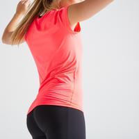 Playera manga corta de fitness mujer 100 rosa transpirable