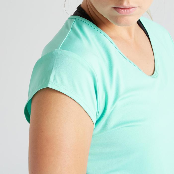T-shirt voor cardiofitness dames 100 turquoise