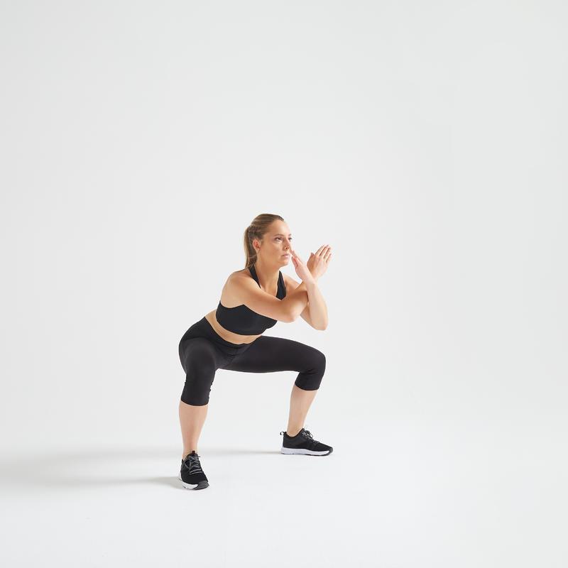 Calzas Piratas Mujer Fitness Domyos FCA 100 Negro