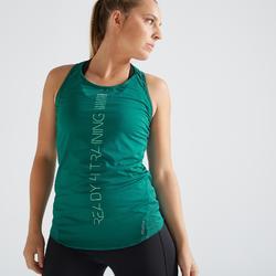 Camiseta sin mangas fitness cardio training mujer verde 120