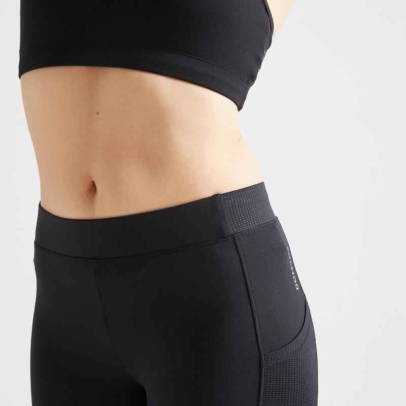 กางเกงเลกกิ้งขา 7/8 ส่วนสำหรับผู้หญิงใส่ออกกำลังกายแบบคาร์ดิโอรุ่น 120 (สีดำ)