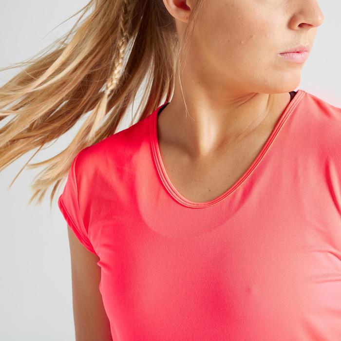 Fitness shirt 100 voor dames, koraal/roze