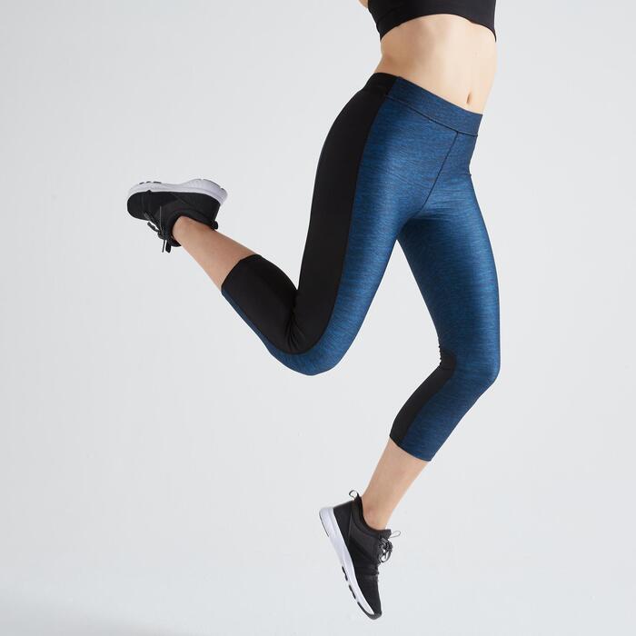 Legging 7/8 fitness cardio training femme imprimé bleu 120