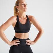 Women's Mid Support Fitness Sports Bra - Black