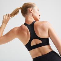 Soutien-gorge entraînement cardio femme noire 500