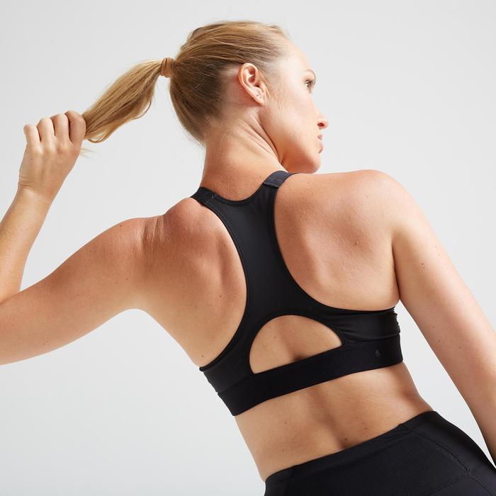 Brassière cardio fitness cardio training femme noire 500