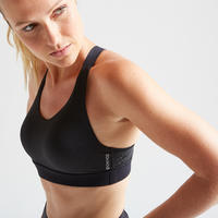 500 Women's Fitness Cardio Training Sports Bra - Black