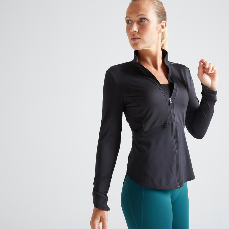 Women's Light Weight Fitness Sports Jacket - Black