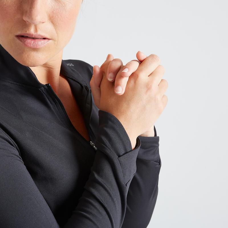 Women's Quick-Dry Slim Fit Fitness Jacket - Black