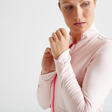 Veste entraînement cardio femme rose pâle 500