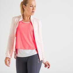 Sudadera deportiva cremallera Cardio Training Domyos FJA 500 mujer rosa pastel