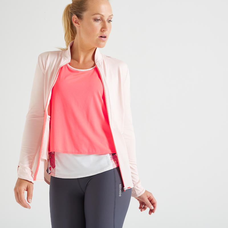 Women's Light Weight Fitness Sports Jacket - Pale Pink