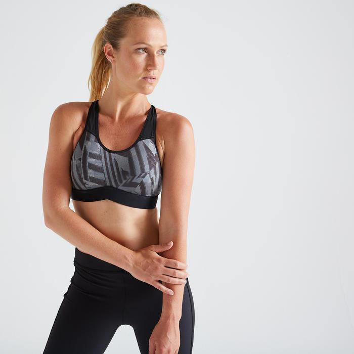 Brassière fitness cardio training femme imprimée graphique 500