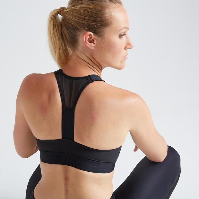 Brassière fitness cardio training femme noire 500