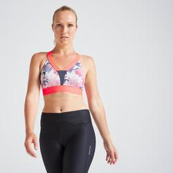 Sujetador-top fitness cardio-training mujer estampado floral 500