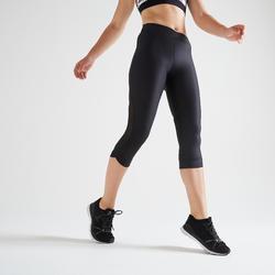 Mallas Leggings deportivos piratas Cardio Fitness Domyos FLE 520 mujer negro