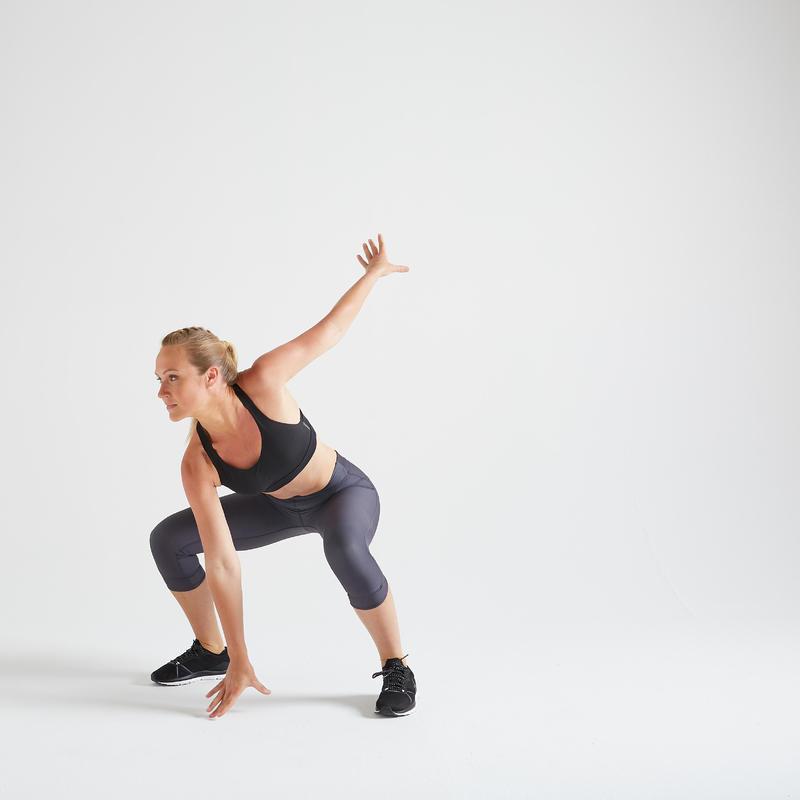 CalzasLeggings Piratas Vientre Plano Mujer Fitness Domyos FLE 500 Gris