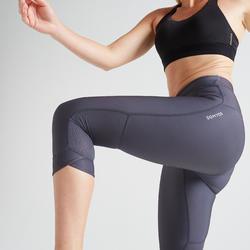 Mallas Leggings deportivos piratas Cardio Fitness Domyos FLE 520 mujer gris