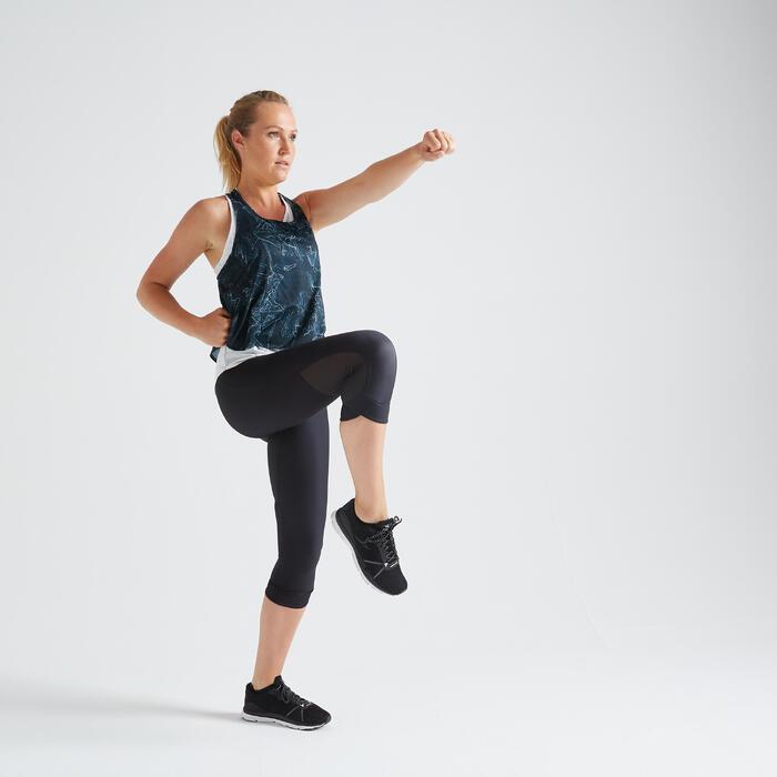 Débardeur 3 en 1 fitness cardio training femme blanc et imprimé 520