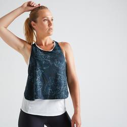 Camiseta sin mangas 3 en 1 Cardio Fitness Domyos FTA 520 mujer azul blanco