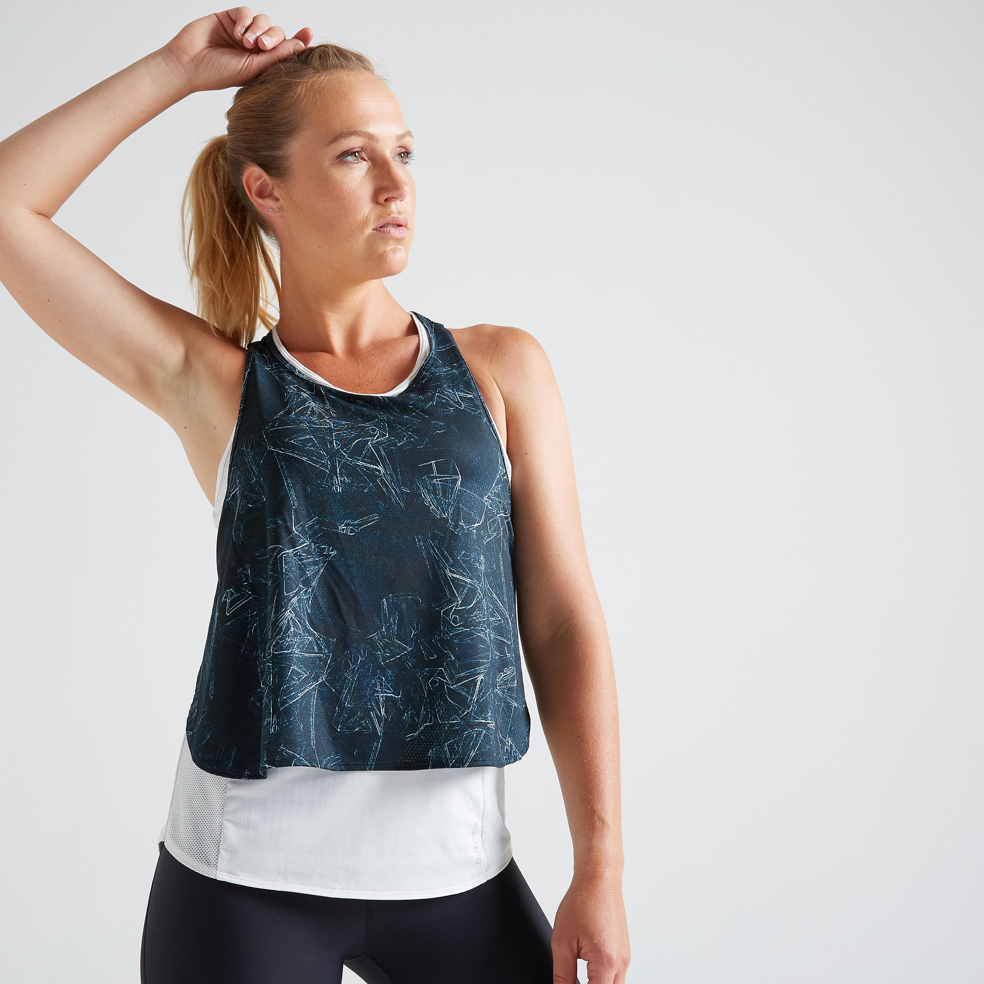 Top 3-in-1 FTA 520 Fitness Cardio Damen wei mit Print | Sportbekleidung > Sporttops | Domyos