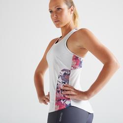 Débardeur 3 en 1 fitness cardio training femme blanc et rose 520