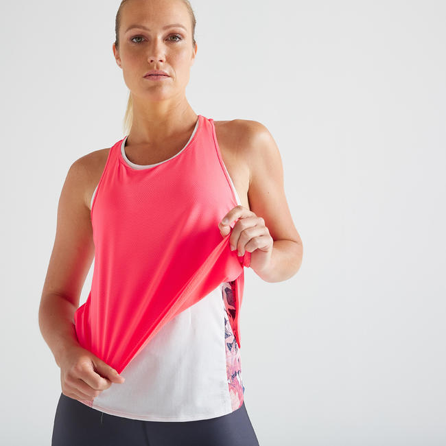 Women's 3-in-1 Fitness Cardio Training Tank Top 520 - White/Pink
