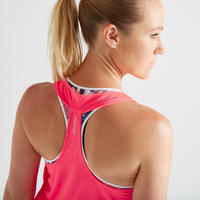 520 Women's Fitness Cardio Training 3-in-1 Tank Top – Pink/White