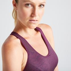 Brassière fitness cardio training femme bordeaux 500