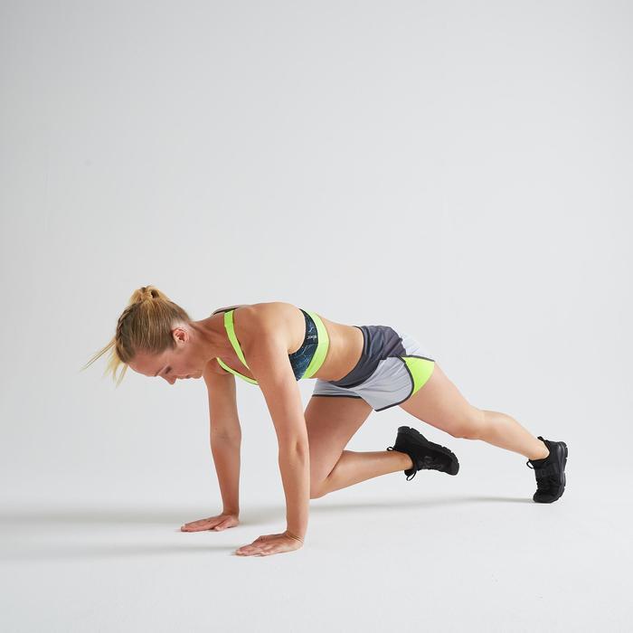 Loose fit short voor cardiofitness dames 500 grijs/geel
