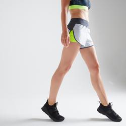 Sportbroekje fitness 500 voor dames, grijs/geel