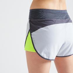 Short loose fitness cardio training femme gris et jaune 500