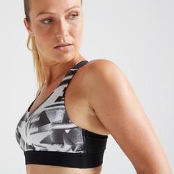 Top Sujetador Deportivo Cardio Fitness Domyos 500 mujer negro blanco