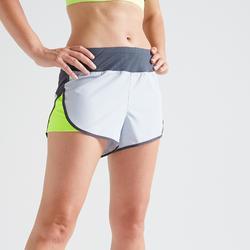 Sporthose kurz FST 500 loose Fitness Cardio Damen grau/gelb