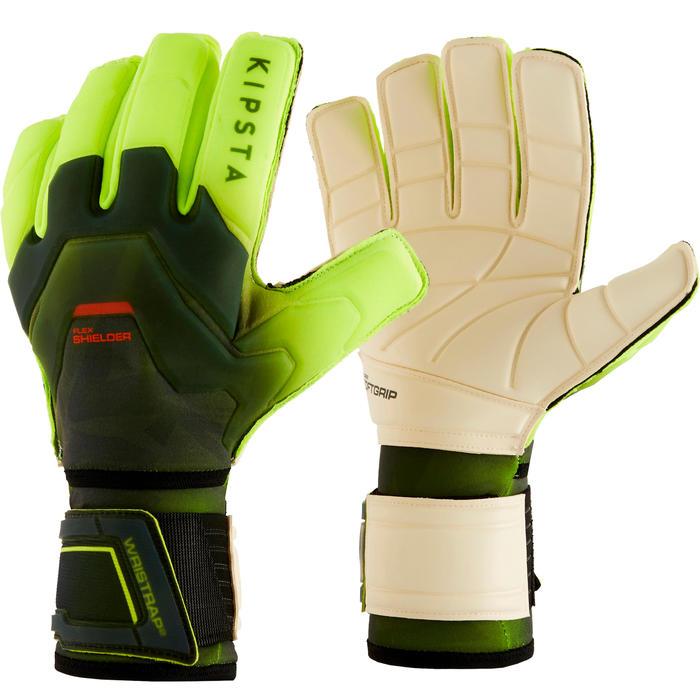 Keepershandschoenen voetbal volwassenen F900 Shielder platte naad zwart/geel