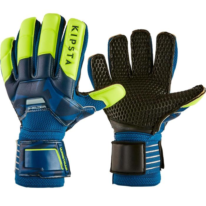 Keepershandschoenen voetbal kinderen F500 Resist Shielder blauw/geel