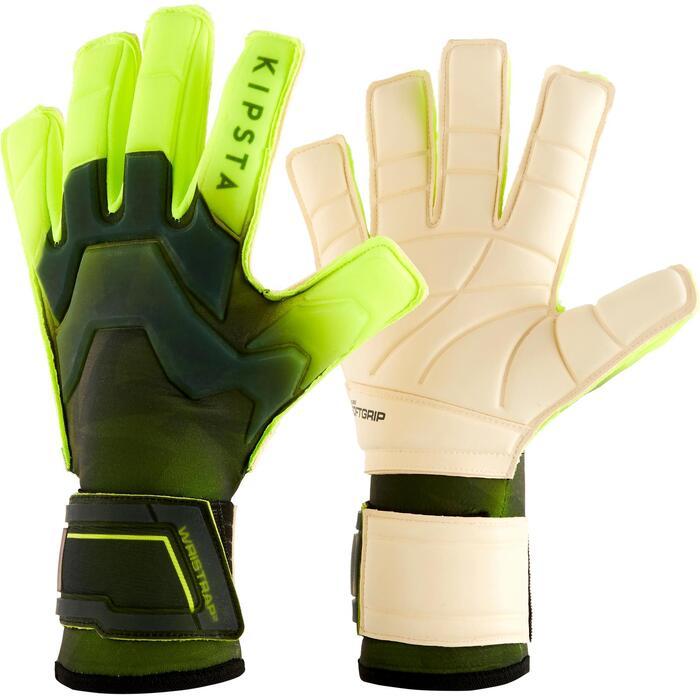 Keepershandschoenen voor volwassenen voetbal F900 platte naden zwart/geel