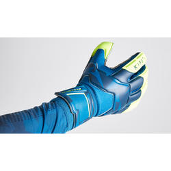 Keepershandschoenen voor volwassenen voetbal F500 Resist blauw geel