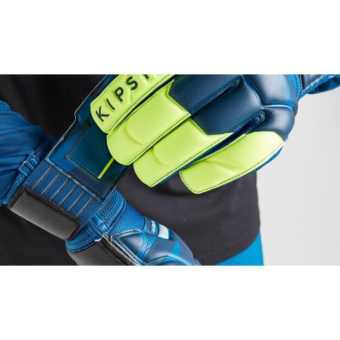 Keepershandschoenen voetbal volwassenen F500 Resist Shielder blauw/geel
