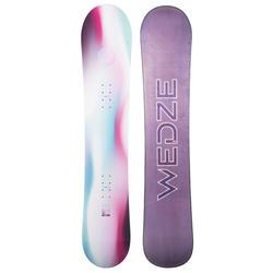 女款雪地與全山地單板滑雪板SERENITY 100,白色、淺藍色與紫色