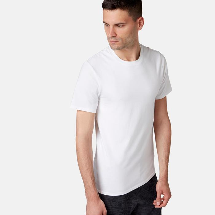T-Shirt 500 slim Pilates Gym douce blanc homme